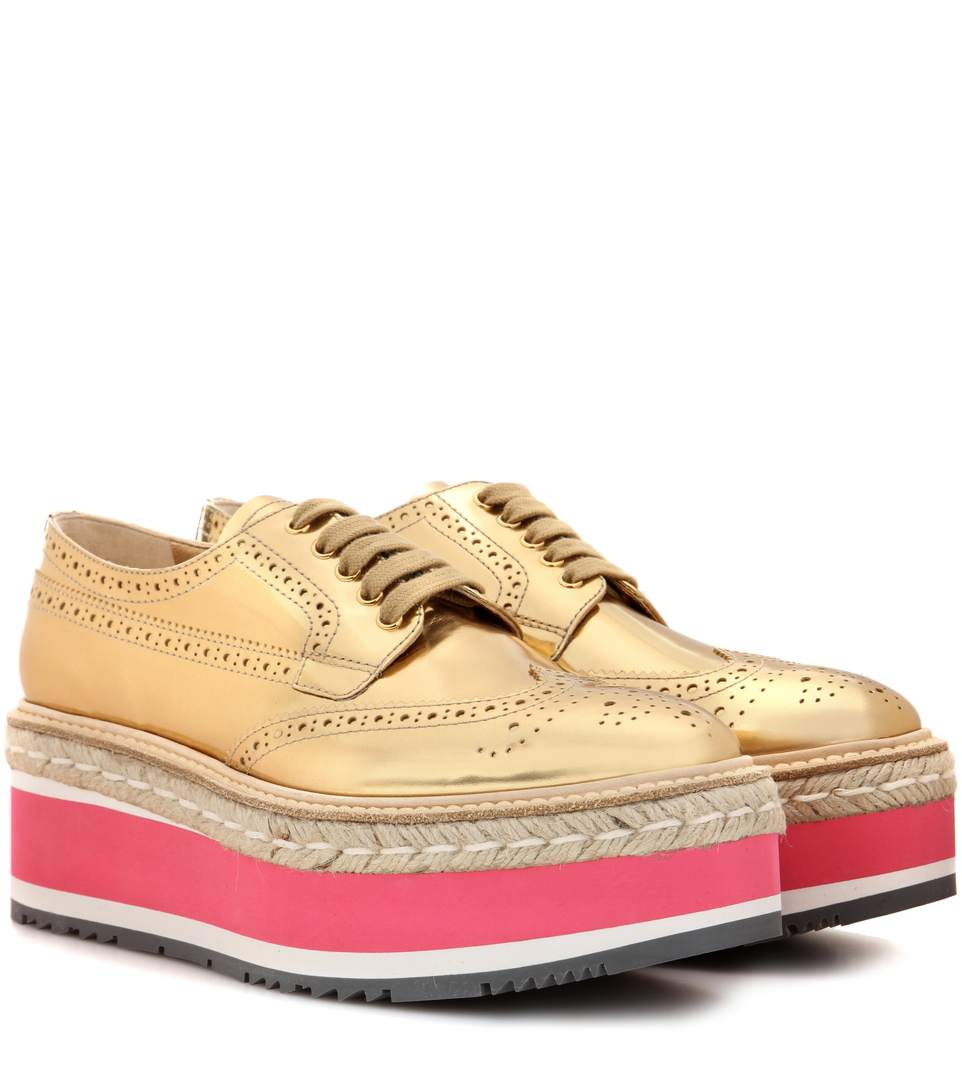 Prada Wingtip Leather Brogues, Gold