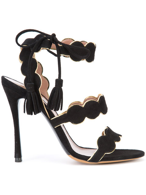 TABITHA SIMMONS CIRRIUS SUEDE ANKLE-TIE SANDALS, BLACK