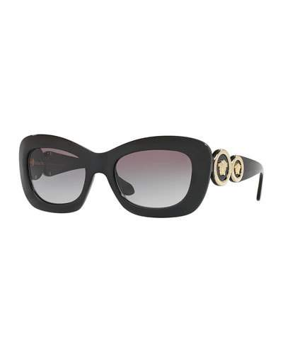 VERSACE MEDUSA '96 MONOCHROMATIC RECTANGULAR SUNGLASSES, BLACK