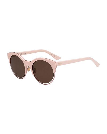 Dior Sideral 1 Metallic-Trim Cat-Eye Sunglasses, Pink