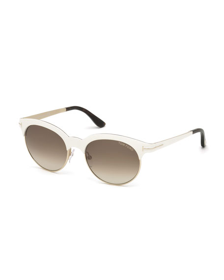 TOM FORD FT0438 5328F ANGELA CREAM/GOLD ROUND SUNGLASSES, IVORY/ROSE GOLD