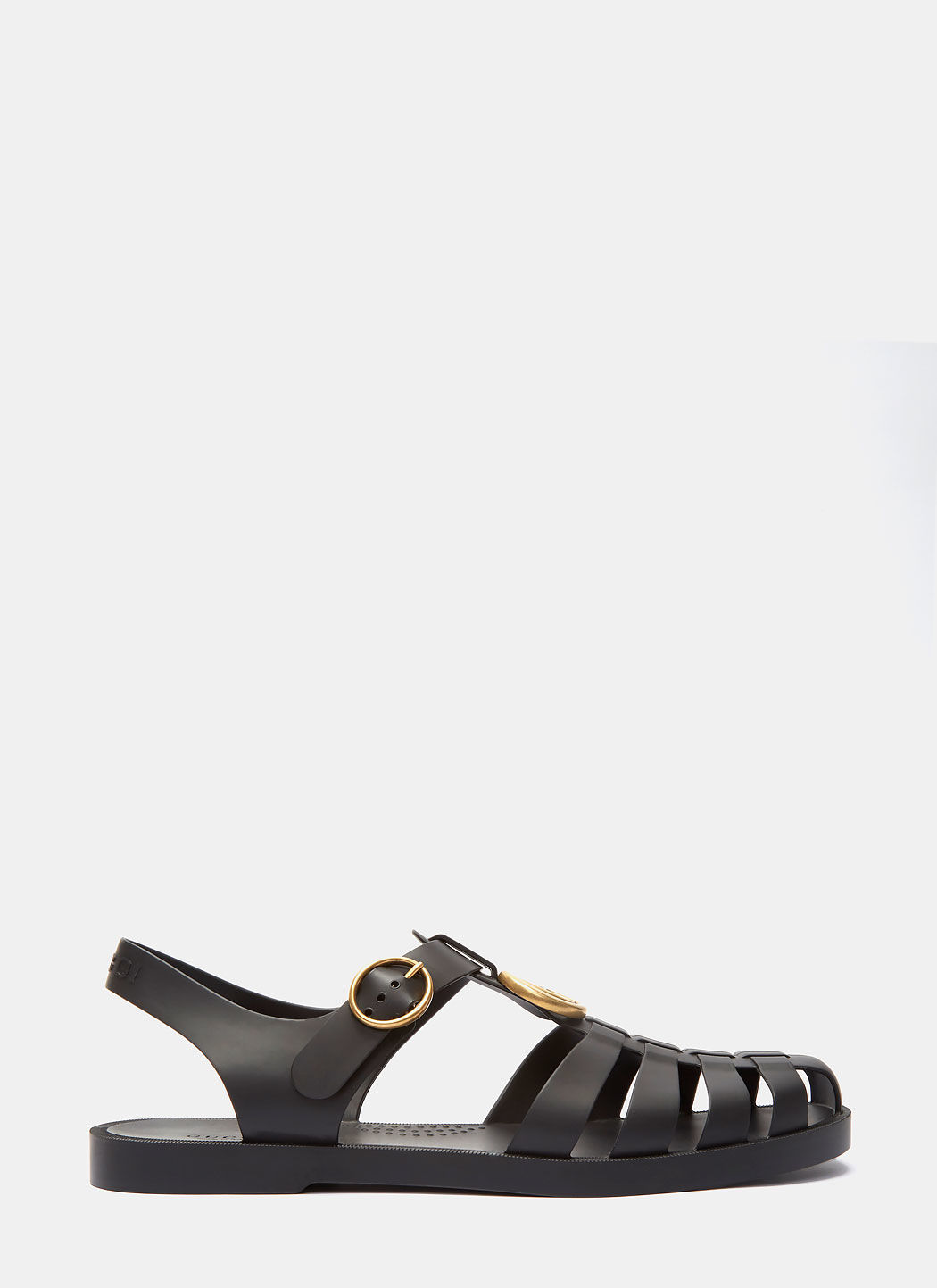 GUCCI TIGER HEAD RUBBER BUCKLE SANDALS IN BLACK