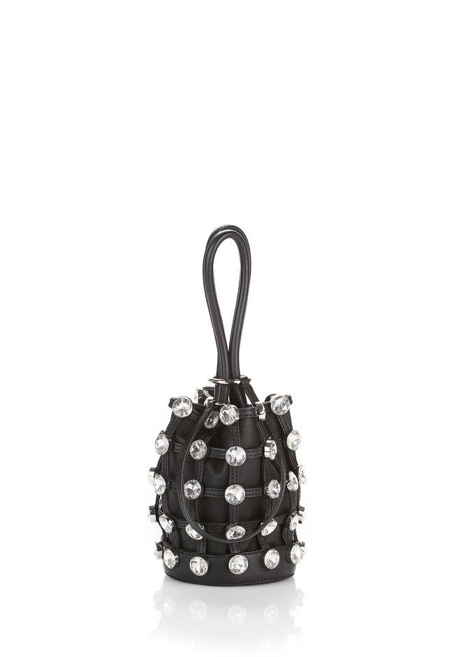 Mini Roxy Studded Cage Leather Bucket Bag - Black