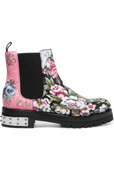 Alexander Mcqueen Woman Floral Embroidered And Printed Leather Ankle Boots Pink