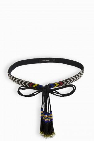ISABEL MARANT WOMAN BEADED CANVAS BELT BLACK