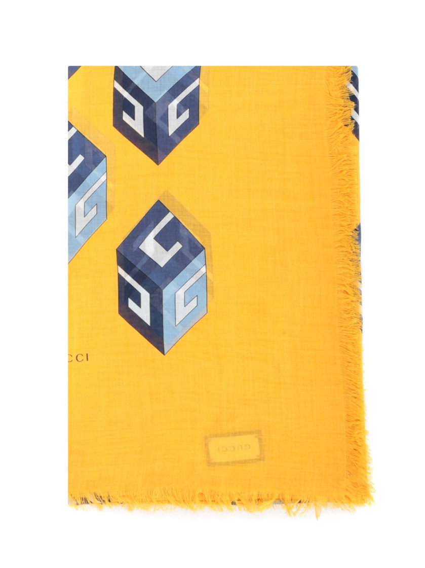 GUCCI 'GG WALLPAPER' YELLOW SCARF