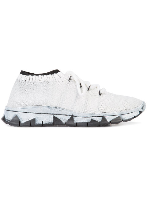 MAISON MARGIELA Black & Silver Painted Runner Sneakers in White