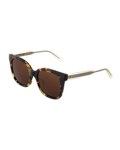 BOTTEGA VENETA TWO-TONE SQUARE HAVANA PLASTIC SUNGLASSES