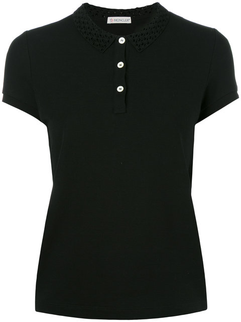 MONCLER CUT OUT COLLAR POLO SHIRT