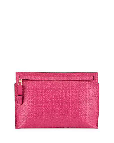 LOEWE LARGE LOGO-EMBOSSED LEATHER ZIP POUCH, FUCHSIA