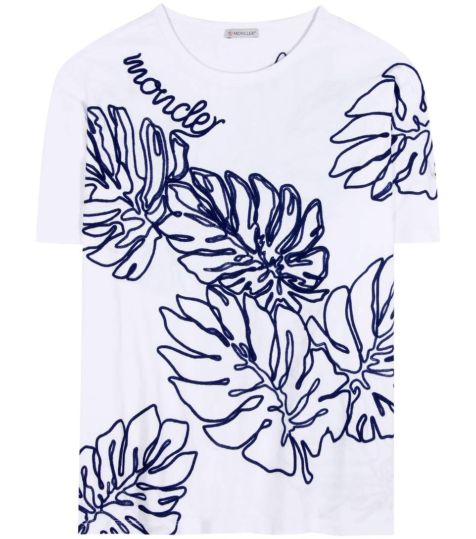 MONCLER EMBROIDERED T-SHIRT, WHITE