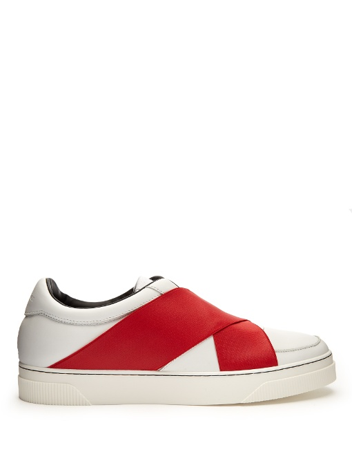 PROENZA SCHOULER CROSSOVER-STRAP LEATHER LOW-TOP TRAINERS, RED WHITE