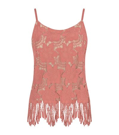 ALICE AND OLIVIA Alice+Olivia - Floral Embroidered Fringed Hem Top  in Dusty Rose/ Sesame