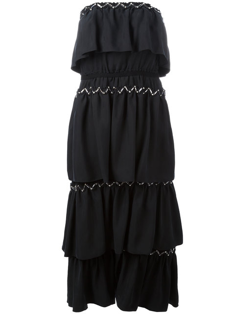 SONIA RYKIEL WOMAN STRAPLESS TIERED EMBELLISHED CREPE MAXI DRESS BLACK