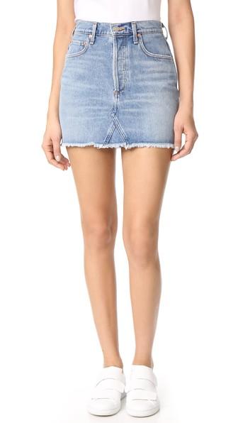 AGOLDE Quinn High Waist Cutoff Denim Miniskirt in Devotee