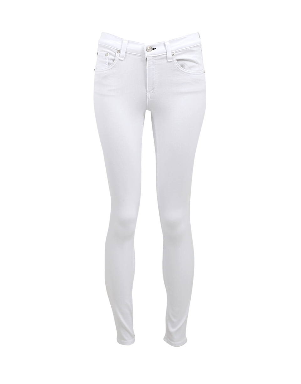 Slim-Fit High-Rise Ankle Cigarette Jeans, Brghtwht