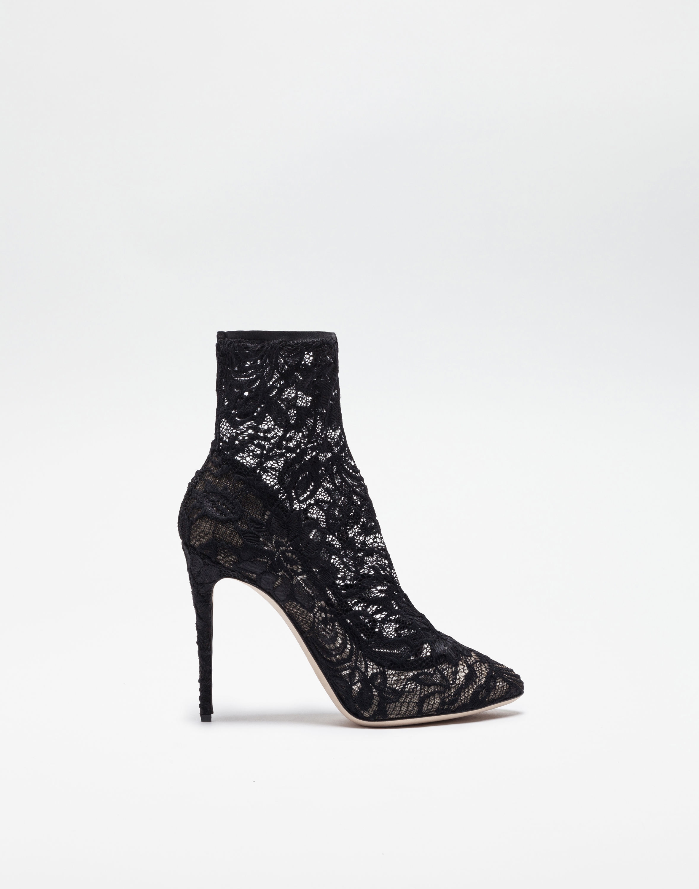 Ankle Boot In Stretch Lace And Gros Grain, Black