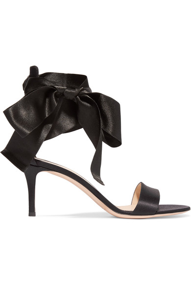 Gianvito Rossi Velvet Satin Bow Sandals, Denim