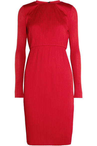 MAX MARA WOMAN PLISSÉ-JERSEY DRESS RED