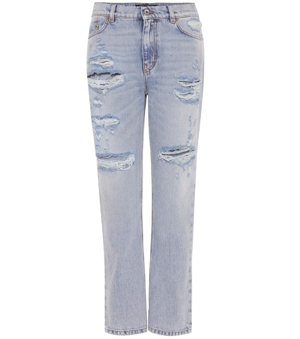 DOLCE & GABBANA EMBELLISHED DISTRESSED JEANS, BLUE