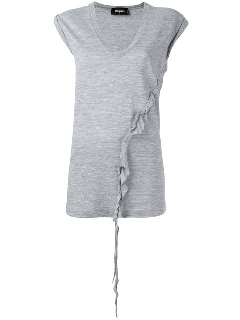 Dsquared2 Asymmetric Twisted T-Shirt - Grey