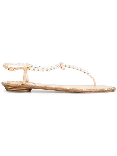 RENÉ CAOVILLA Eliza Embellished Leather Sandals in Neutrals