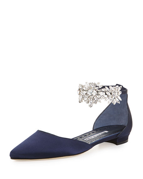MANOLO BLAHNIK Sicaria Crystal-Embellished D'Orsay Flat, Imp 450 Navy Sati
