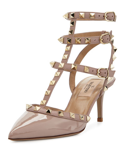 VALENTINO Rockstud Two-Tone Caged Pump, Light Pink in White