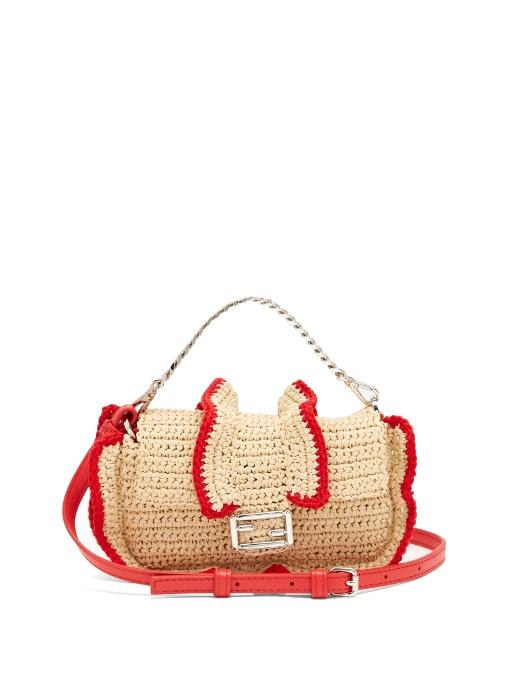 Fendi Beige Raffia & Red Leather Baguette - Shw 4BMdbte