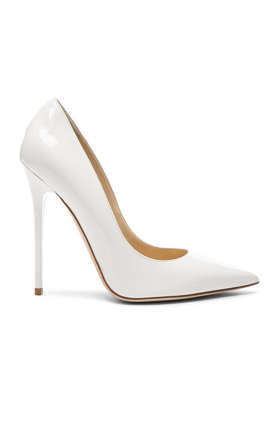 JIMMY CHOO Patent Leather Anouk Pumps In White. in Chalk