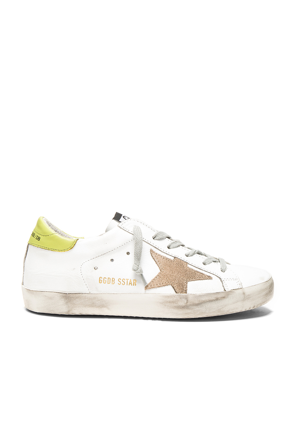 GOLDEN GOOSE Super Star Low-Top Suede And Leather Trainers in White & Wasabi