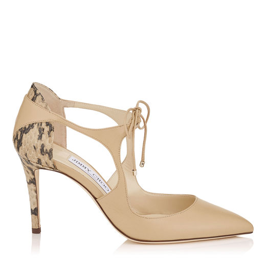 JIMMY CHOO Vanessa 85 Nude Nappa And Gloss Elaphe Pointy Toe Pumps in Nude/Nude