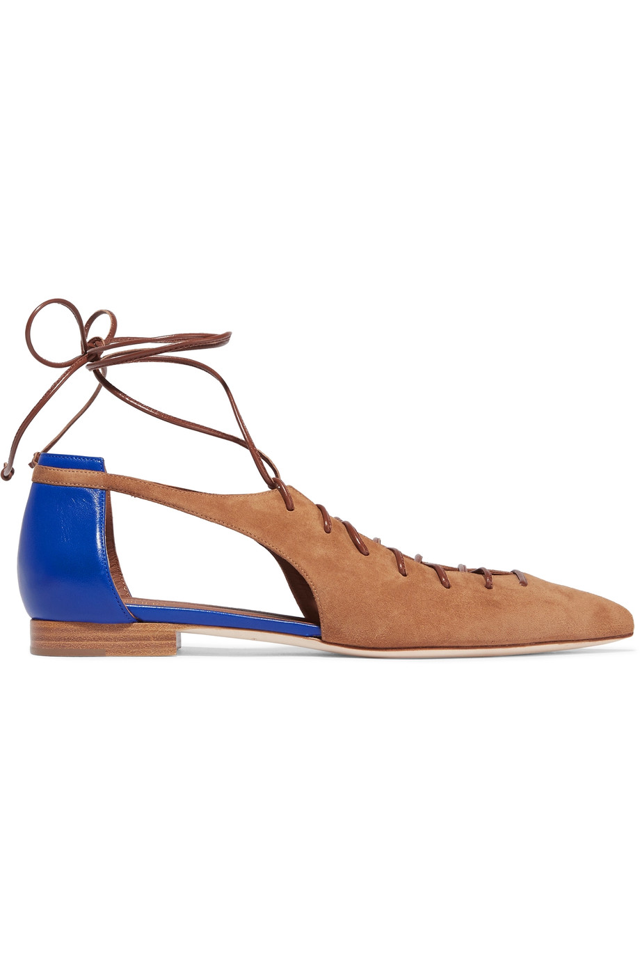 MALONE SOULIERS Montana Cutout Suede And Leather Point-Toe Flats