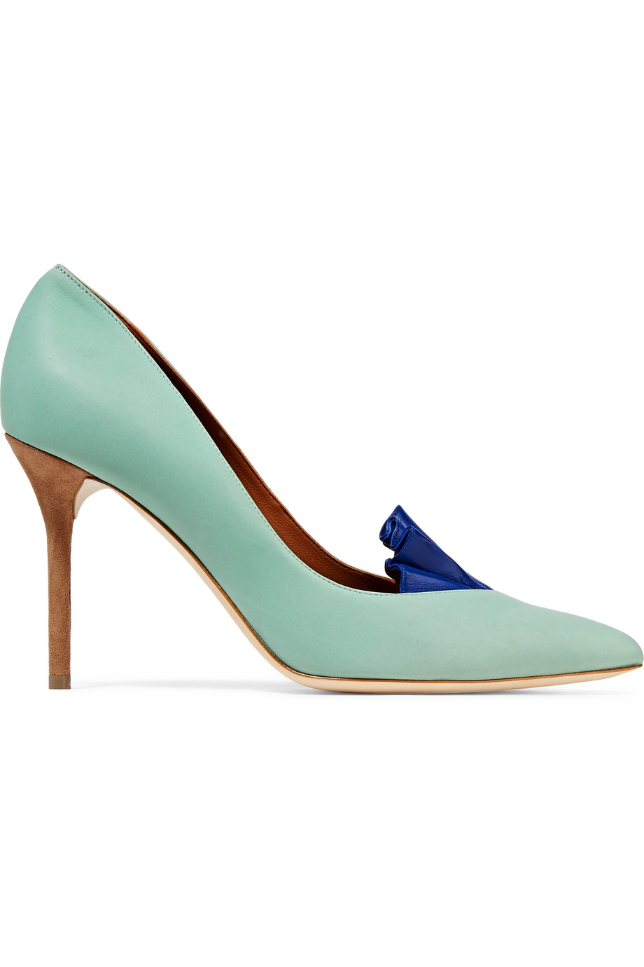 MALONE SOULIERS + Adam Lippes Brenda Ruffle-Trimmed Leather Pumps