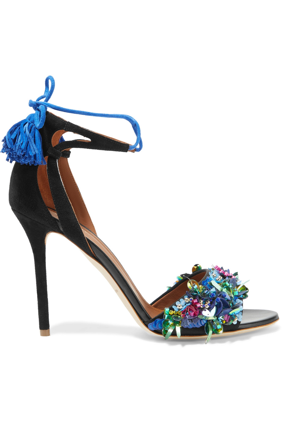 MALONE SOULIERS Gladys Leather-Trimmed Embellished Satin And Suede Sandals