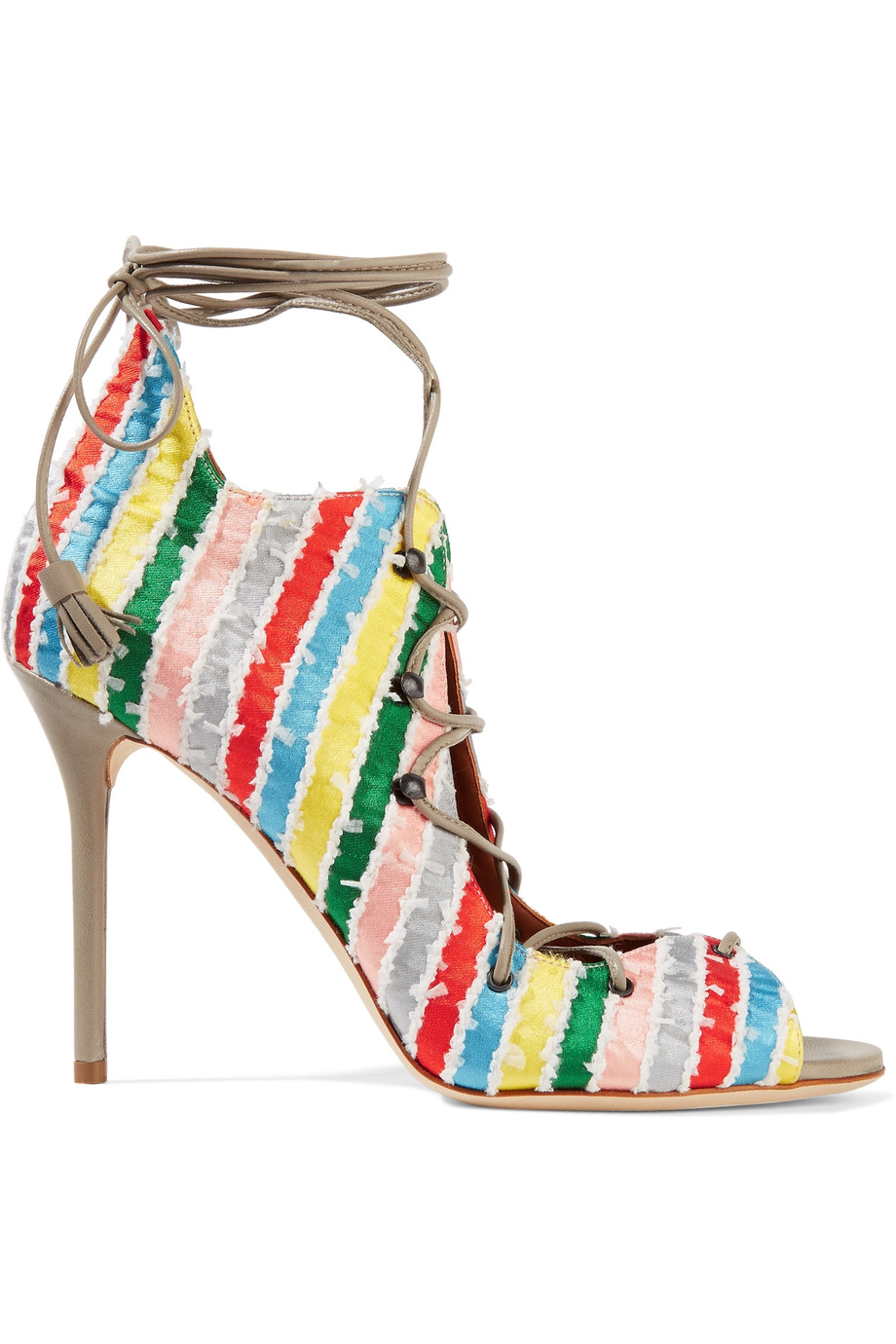 MALONE SOULIERS Savannah Lace-Up Leather-Trimmed Striped Satin Sandals