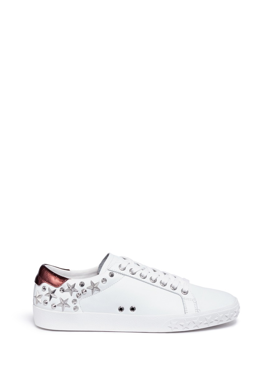 Ash 'Dazed' Star Stud Calfskin Leather Sneakers, White Pattern