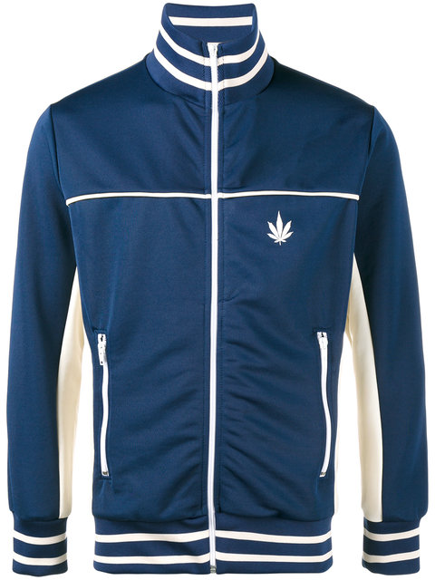 PALM ANGELS Cannabis Leaf Print Contrast Track Jacket in Blue White