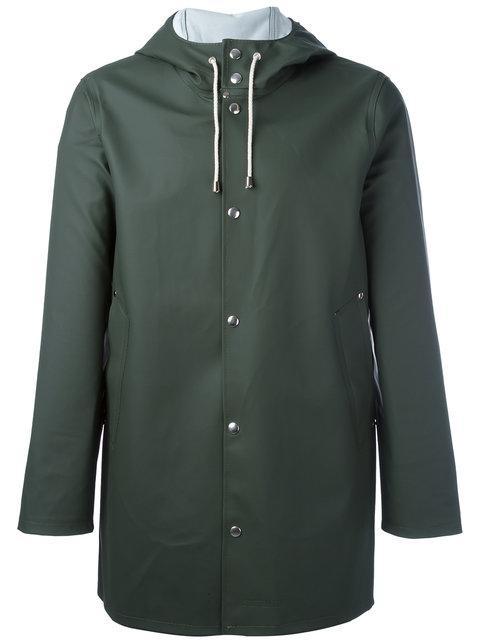 Stutterheim Drawstring Hood Raincoat - Green