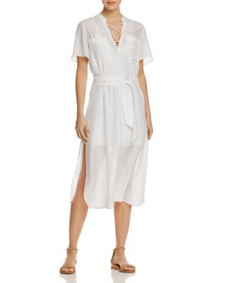 FRAME LACE-UP MIDI SHIRTDRESS, BLANC, BLACK