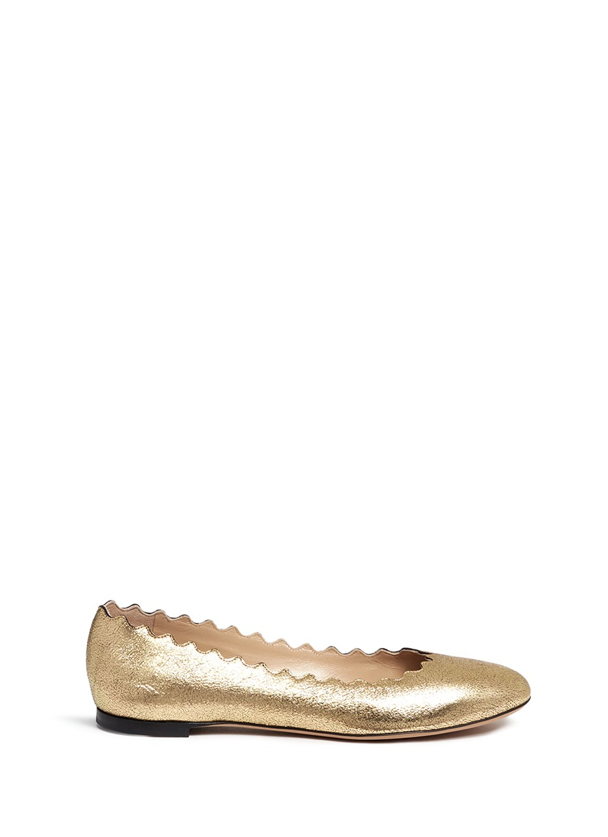 ffcae0f89bd ChloÉ Lauren Scalloped Metallic Cracked-Leather Ballet Flats In Pink Gold