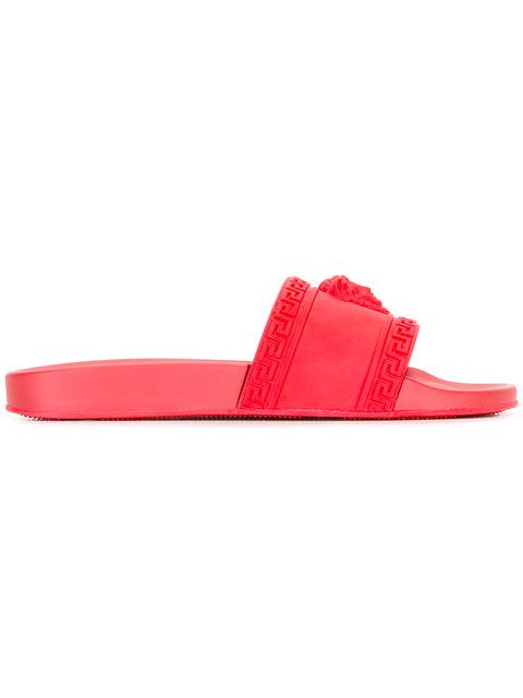 Men'S Medusa & Greek Key Shower Slide Sandal in Red