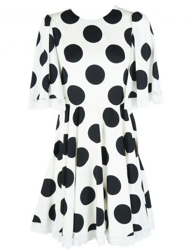 Dolce & Gabbana Half-Sleeve Lace-Trim Polka-Dot Dress, White/Black, Multicoloured