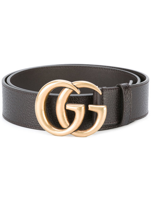 Reversible Leather Belt With Double G Buckle in Black