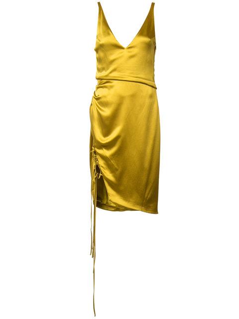GALVAN Isabella Sleeveless Satin V-Neck Dress With Lace-Up Slit ...