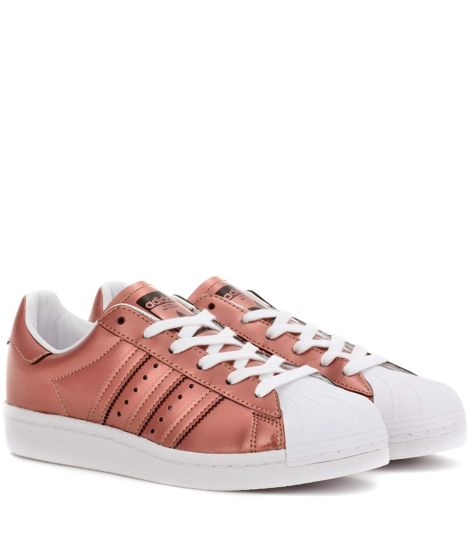 Woman Superstar Mirrored-Leather Sneakers Copper in Metallic