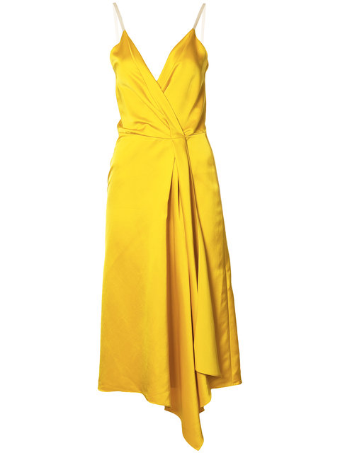 VICTORIA BECKHAM Heavy Fluid Silk Wrap Dress In Yellow. in Yellow