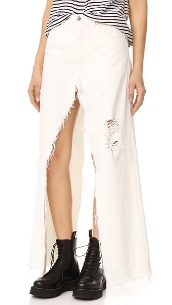 Sashah Skirt-Layered Denim Shorts, Leyton White