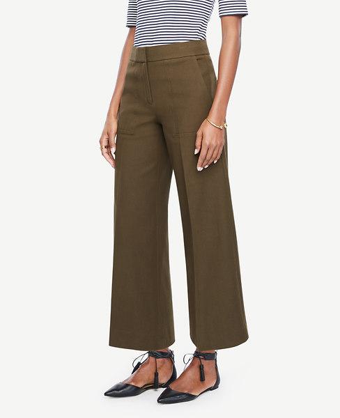 ANN TAYLOR The Petite Wide Leg Marina Pant, Camo Green