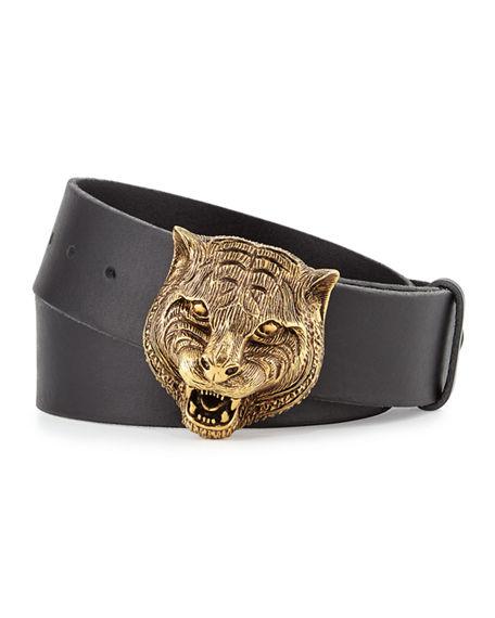Gucci Men'S Leather Belt With Tiger Buckle, Black, Black Leather